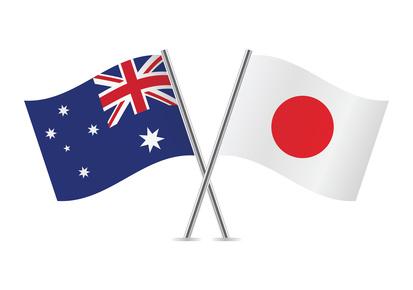日本とオーストラリアの旗