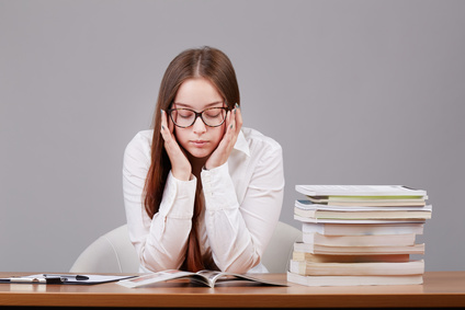 ストレスがたまっている学生