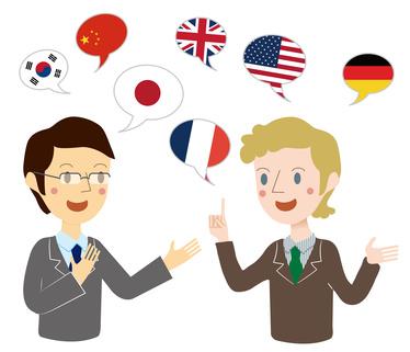 他言語でコミュニケーションをするビジネスマン