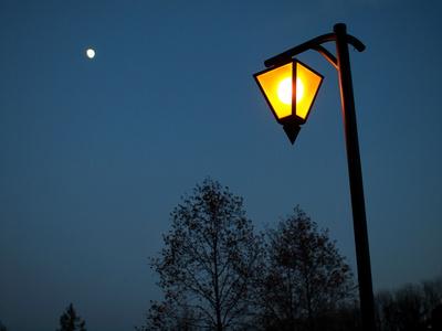 日暮れ時の街灯